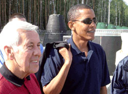 Sen. Richard Lugar and now-President Barack Obama tour a Russian site where WMD are being destroyed in 2005. (DTRA photo)